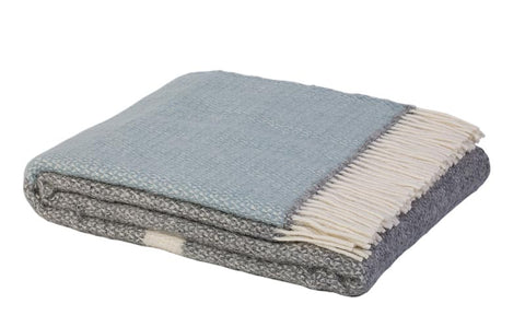 Warwick Shetland Wool Throw Blanket - Kirkcaldy Duck Egg Blue