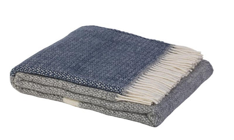 Warwick Shetland Wool Throw Blanket - Kirkcaldy Slate Blue
