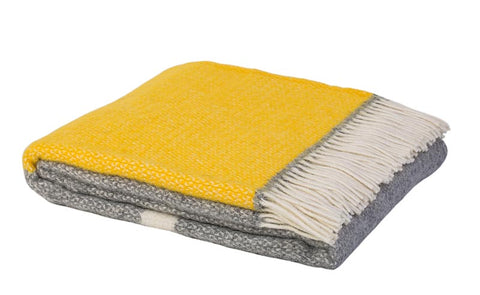 Warwick Shetland Wool Throw Blanket - Kirkcaldy Bright Yellow