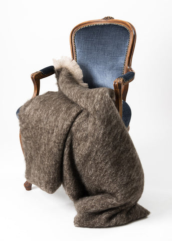 Image of Windermere Kiwi Brown Mohair Throw Blanket