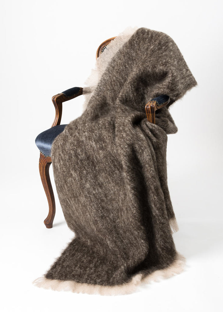 Kiwi Brown Mohair Chair Throw