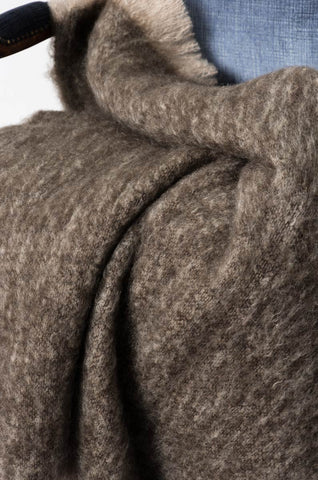 Kiwi Brown Mohair Throw Blanket