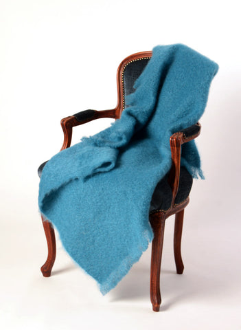 Image of Windermere Lake Blue Mohair Throw Blanket
