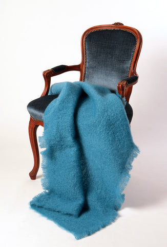 Windermere Lake Blue Mohair Chair Throw