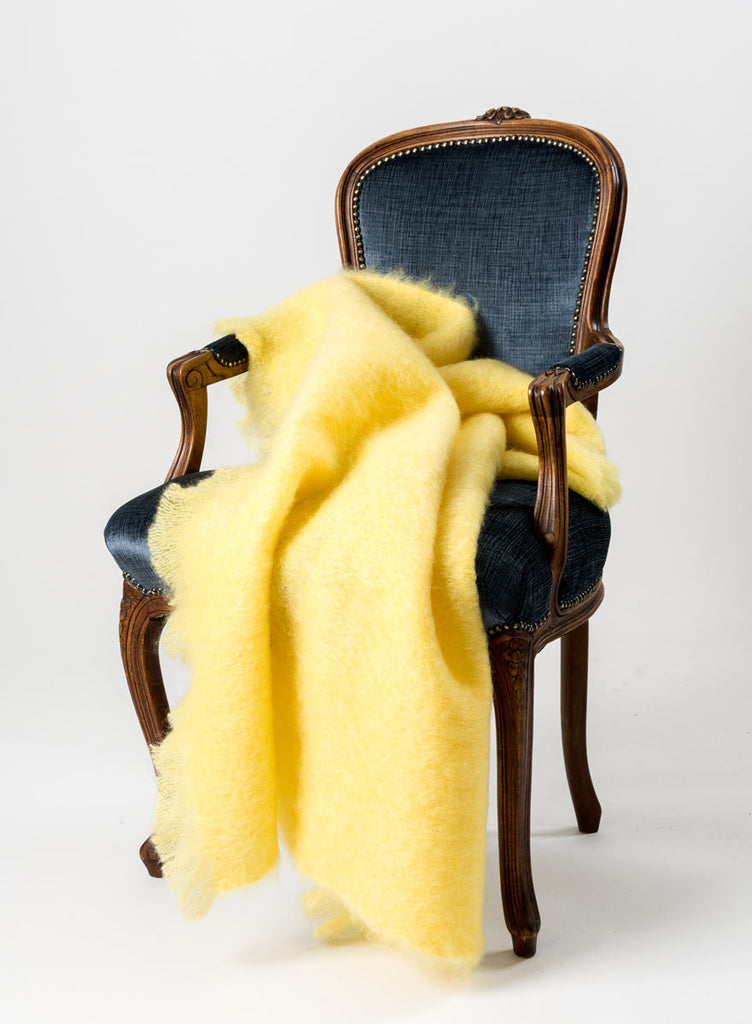 Lemon Yellow Mohair Chair Throw