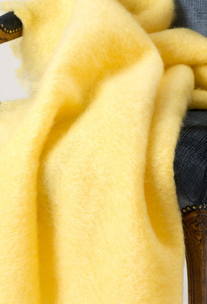 Lemon Yellow Mohair Throw Blanket