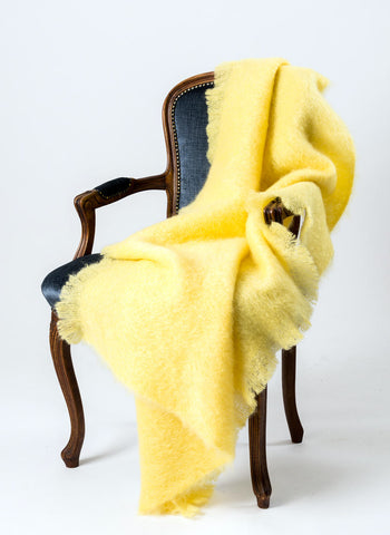 Mohair Throw Blanket NZ - Windermere Lemon Yellow