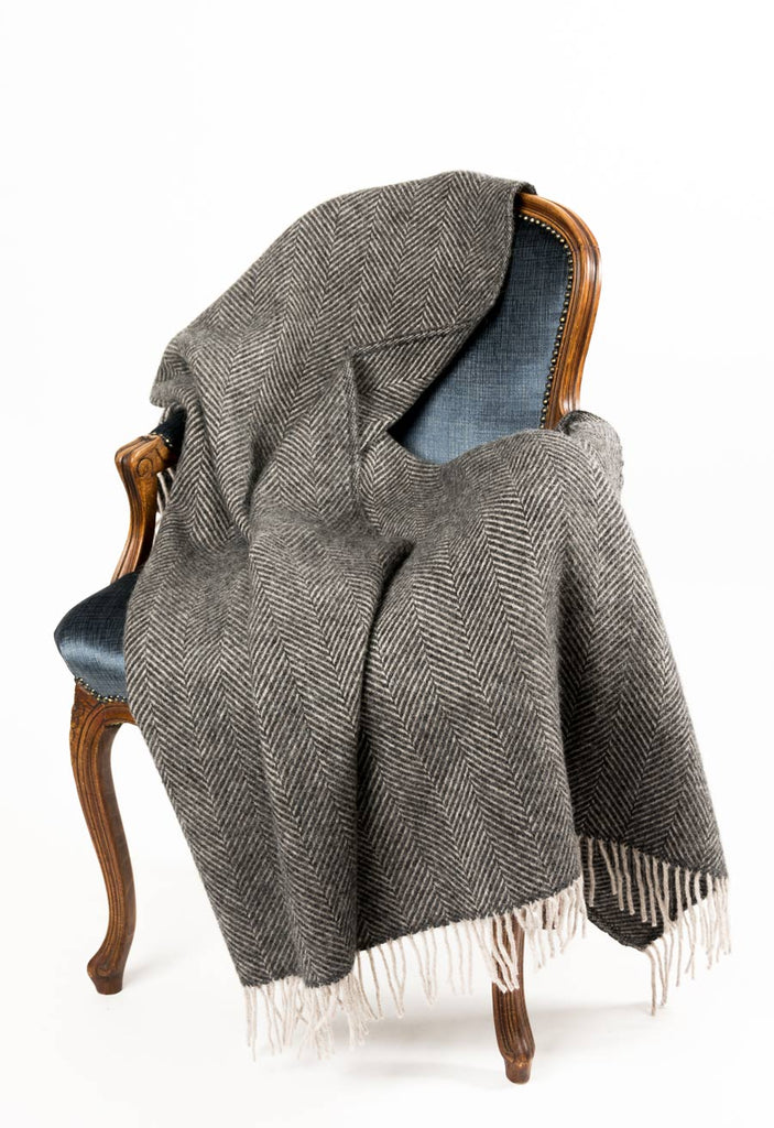 Warwick Shetland Wool Throw Blanket - Lerwick Charcoal