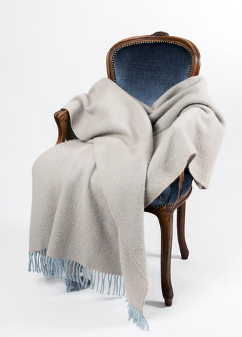 Image of Warwick Shetland Wool Throw Blanket - Lerwick Fawn