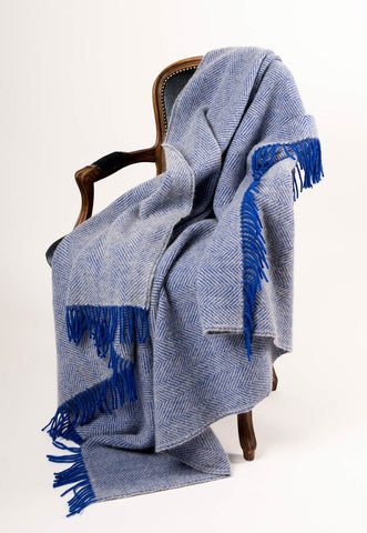 Warwick Shetland Wool Throw Blanket - Lerwick Royal Blue
