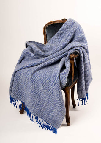 Image of Warwick Shetland Wool Throw Blanket - Lerwick Royal Blue