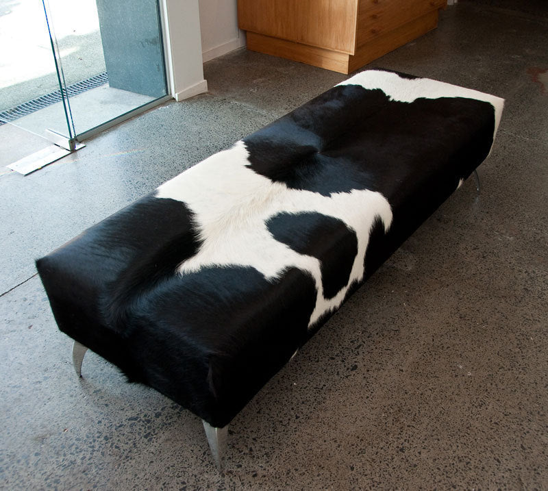 Black & white cowhide bench seat ottoman 150cm long