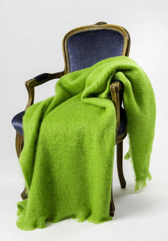 Windermere Lime Green Mohair Chair Throw