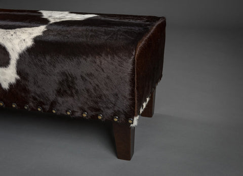 Image of Cowhide Bench Ottoman with Studs and Wood Legs 140x40x40cm