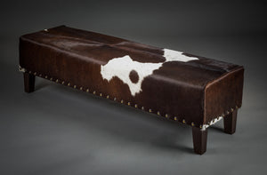 Cowhide Bench Ottoman with Studs and Wood Legs 140x40x40cm