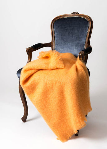 Image of Windermere Mango Orange Mohair Chair Throw