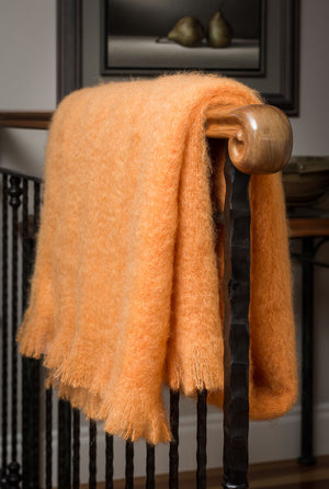 Mango Orange Mohair Chair Throw