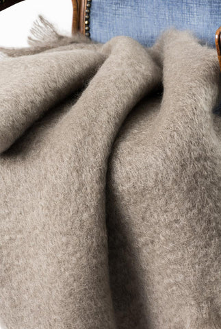 Image of Manuka Taupe Mohair Chair Throw