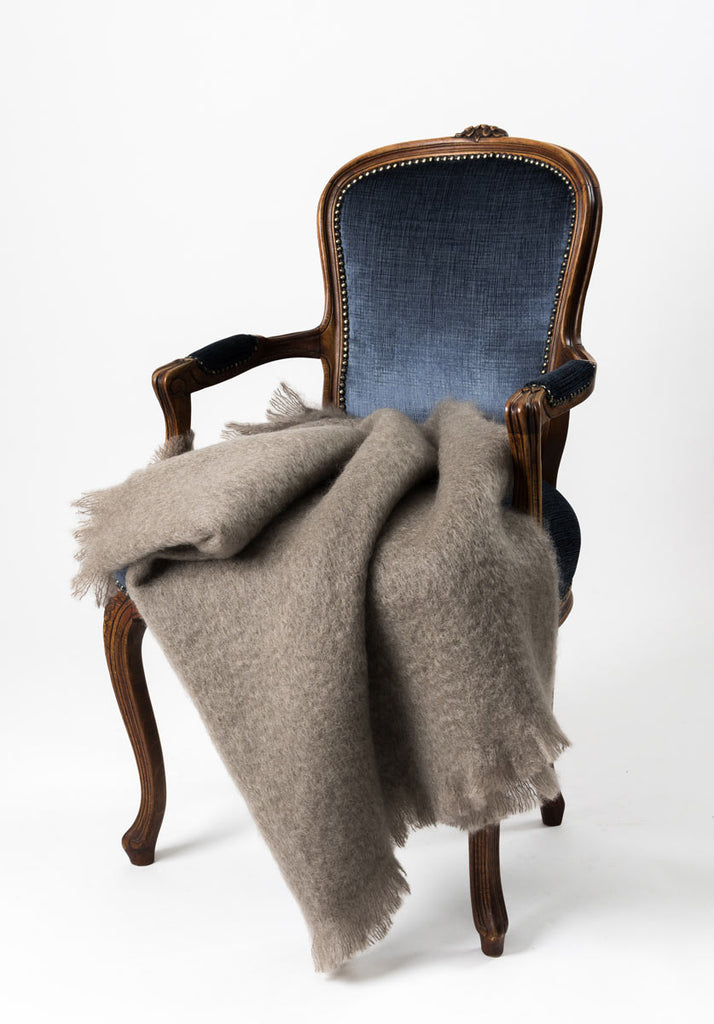 Windermere Manuka Taupe Mohair Chair Throw