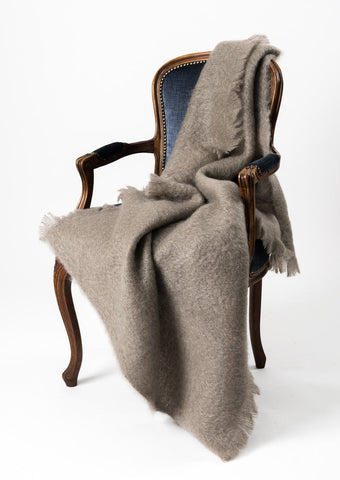 Image of Mohair Throw Blanket New Zealand - Windermere Manuka Taupe