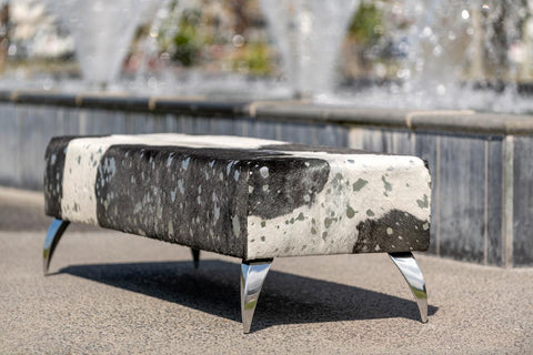 Image of Cowhide Ottoman with Silver Metallic & Aluminium Legs