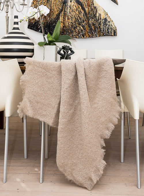 Windermere Paper Beige Mohair Chair Throw