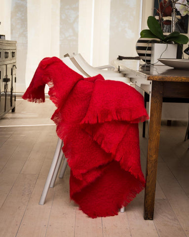 Windermere scarlet red mohair throw blanket
