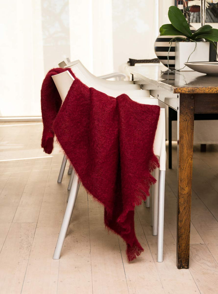 Tamarind Red Mohair Chair Throw