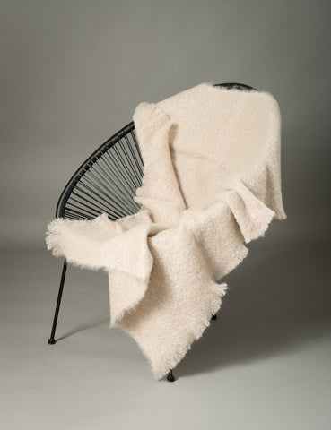 Image of Windermere Paper Beige Mohair Throw Blanket