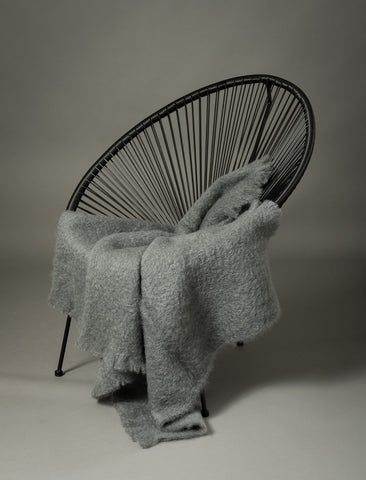 Windermere Slate Grey Mohair Chair Throw
