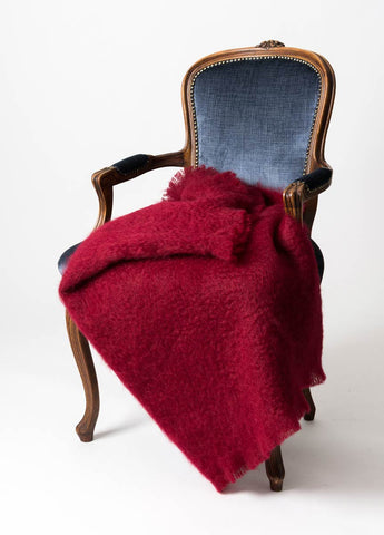 Red Mohair Throw Blanket NZ Windermere Tamarind