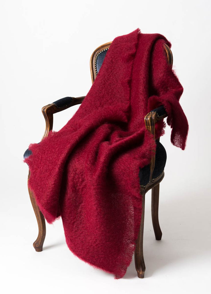 Red Mohair Throw NZ Windermere Tamarind