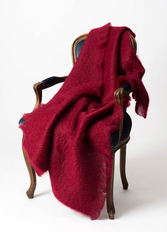 Image of Red Mohair Throw NZ Windermere Tamarind
