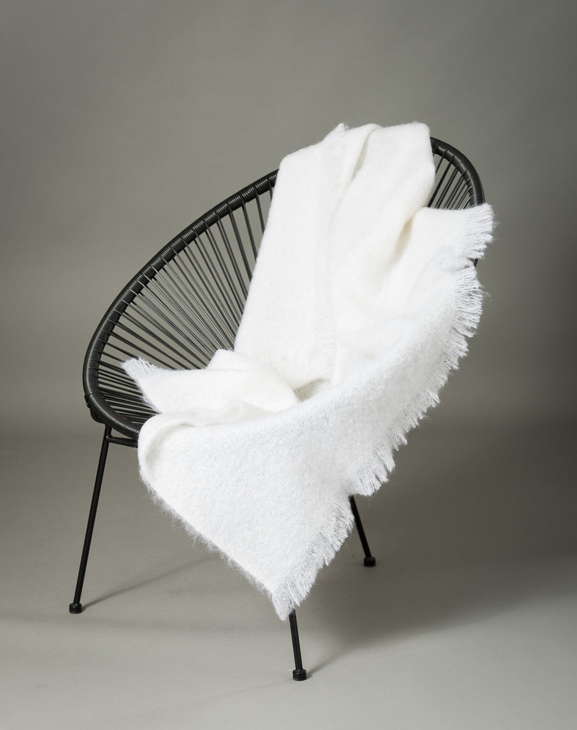 Dove White Mohair Throw Blanket
