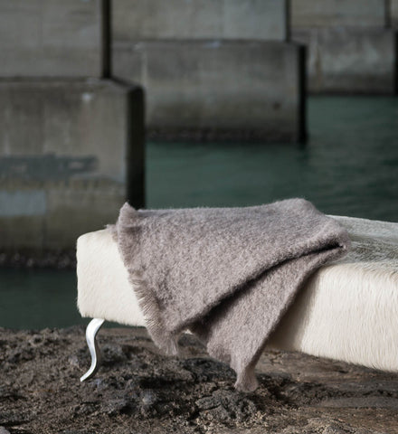 Manuka Taupe Mohair Chair Throw