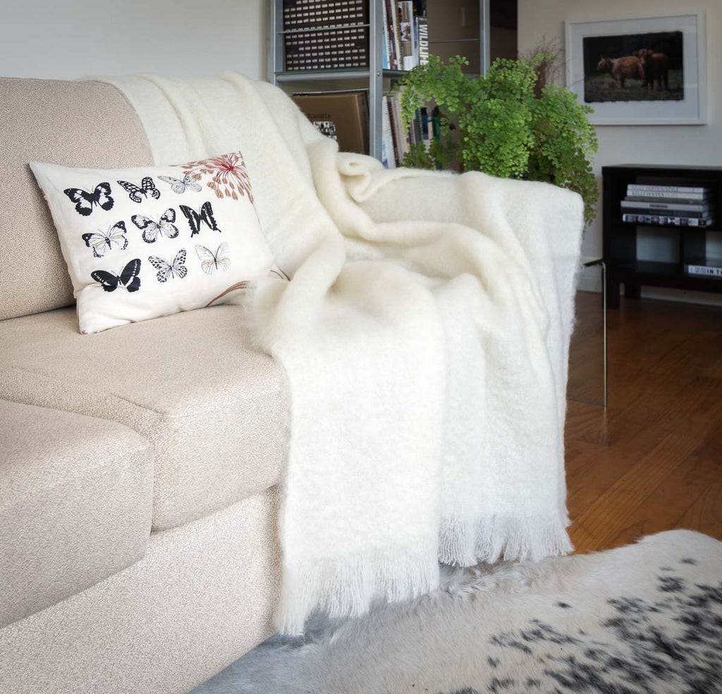Cream Mohair Throw Blanket