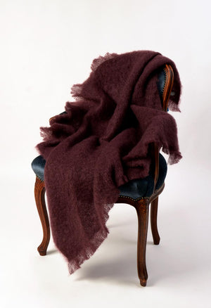 Windermere Mulberry Wine Mohair Throw Blanket