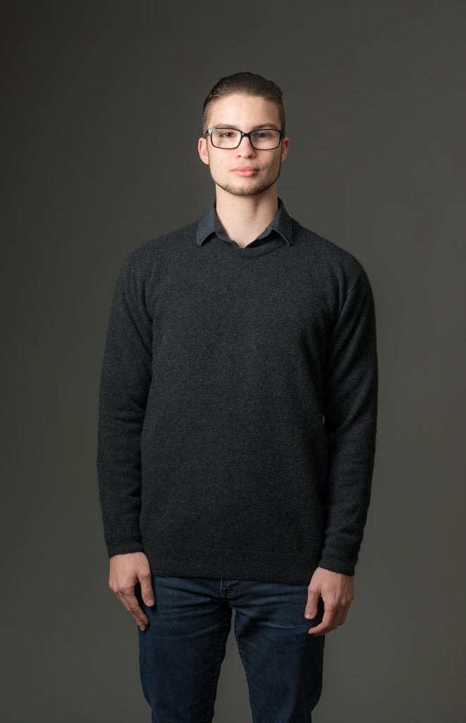 Charcoal Men's Possum Merino Crew Neck Sweater - NB120