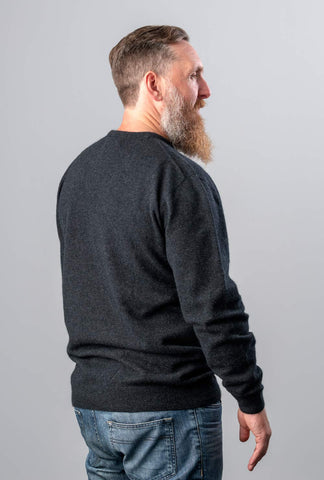 Image of Native World Charcoal Men's Possum Merino Wool Crew Neck Sweater - NB120