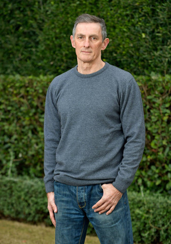 Sky Blue Men's Possum Merino Crew Neck Sweater - NB120