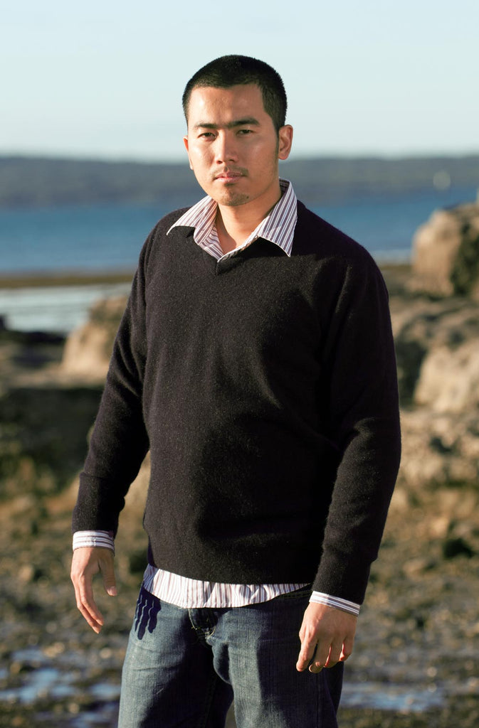 Charcoal Men's Possum Merino Plain Sweater - NB121