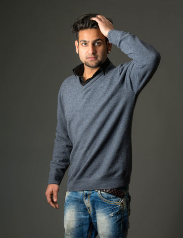 Sky Men's Possum Merino Plain Sweater - NB121