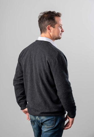 Native World Charcoal Men's Possum Merino Plain Wool Sweater - NB121