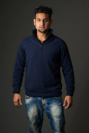Twilight Blue Unisex Lightweight Half Zip Merino Sweater - NB336
