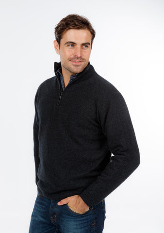 Native World Charcoal Unisex Half Zip Merino Sweater - NB336
