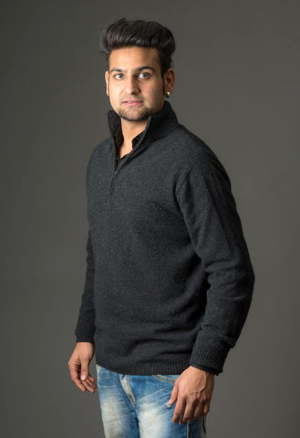 Image of Native World Charcoal Unisex Half Zip Merino Sweater - NB336