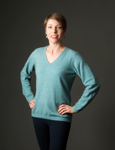Topaz Women's Vee-Neck Merino Wool Sweater - NB396