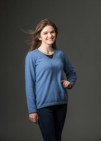 Image of Bluebell Women's Vee-Neck Merino Wool Sweater - NB396