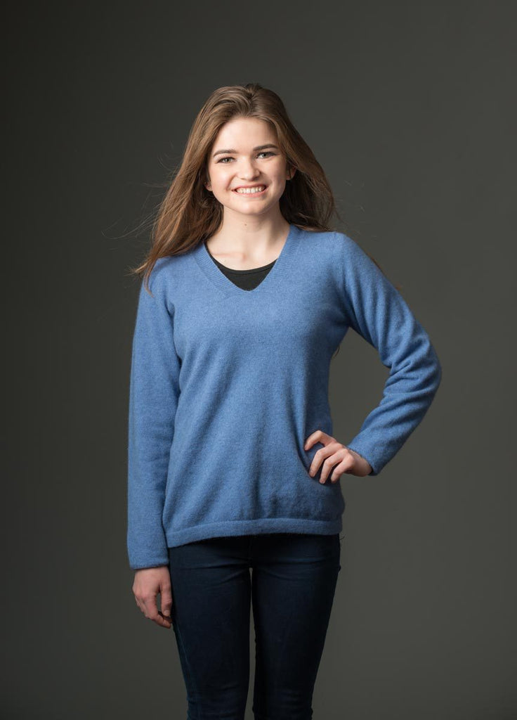 8ce05021f681 Bluebell Women's Vee-Neck Merino Wool Sweater - NB396. Tap to expand