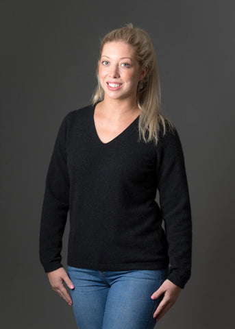 Black Women's Vee-Neck Possum Merino Wool Sweater - NB396